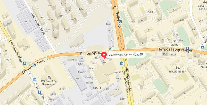 Схема проезда к сервису Санг Енг Беломорская